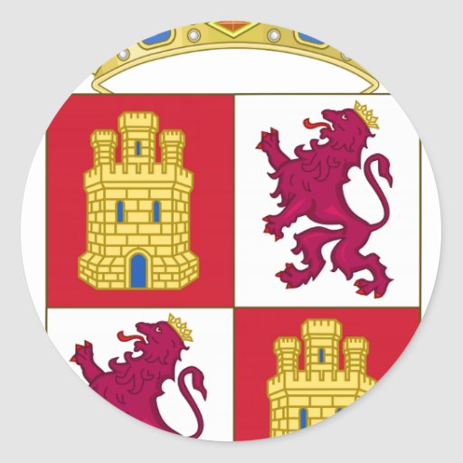 Escudo de armas de Castilla y León (España) Pegatina Redonda