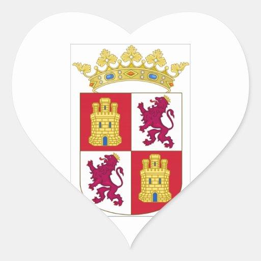 Escudo de armas de Castilla y León (España) Pegatina De Corazon Personalizadas