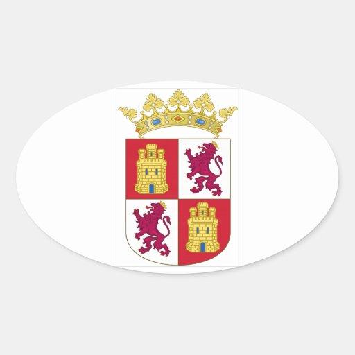 Escudo de armas de Castilla y León (España) Colcomanias Óval