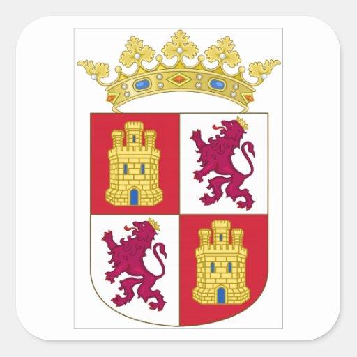 Escudo de armas de Castilla y León (España) Calcomania Cuadradas Personalizada