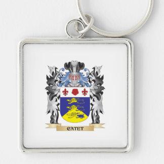 Escudo de armas de Catet - escudo de la familia Llavero Cuadrado Plateado