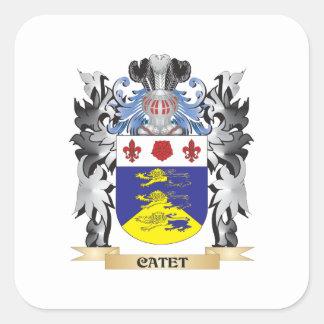 Escudo de armas de Catet - escudo de la familia Pegatina Cuadrada
