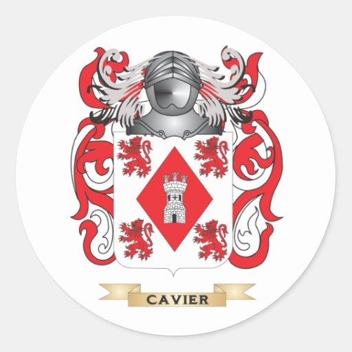 Escudo de armas de Cavier Pegatinas Redondas