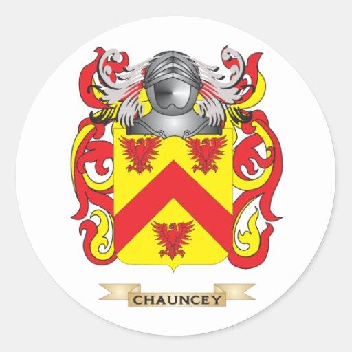 Escudo de armas de Chauncey Pegatinas Redondas