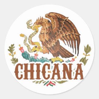 Escudo de armas de Chicana México Pegatina Redonda
