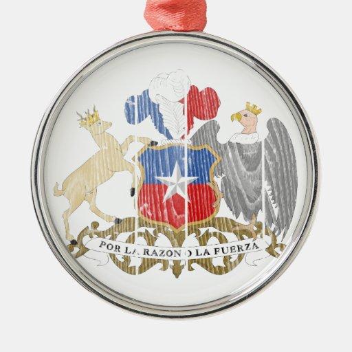 Escudo de armas de Chile Adorno Redondo Plateado