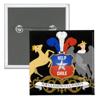 Escudo de armas de CHILE de la AYUDA Pin Cuadrado