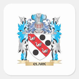 Escudo de armas de Clark - escudo de la familia Pegatina Cuadrada