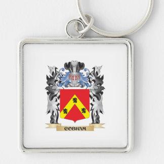 Escudo de armas de Cobham - escudo de la familia Llavero Cuadrado Plateado