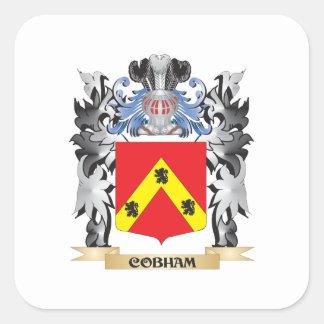 Escudo de armas de Cobham - escudo de la familia Pegatina Cuadrada