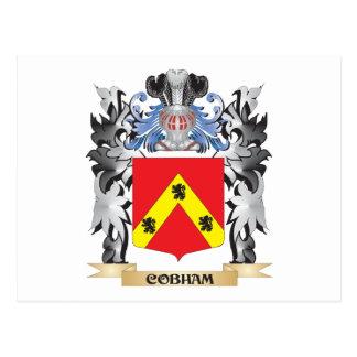 Escudo de armas de Cobham - escudo de la familia Tarjeta Postal
