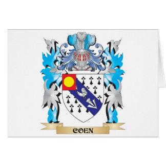 Escudo de armas de Coen - escudo de la familia Felicitación