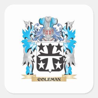 Escudo de armas de Coleman - escudo de la familia Pegatina Cuadrada
