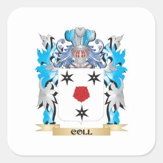 Escudo de armas de Coll - escudo de la familia Pegatina Cuadrada