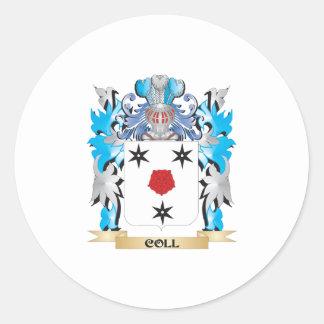 Escudo de armas de Coll - escudo de la familia Pegatina Redonda