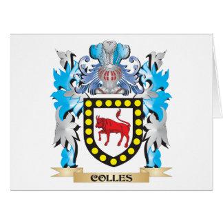 Escudo de armas de Colles - escudo de la familia Tarjeta De Felicitación Grande