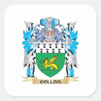 Escudo de armas de Collins - escudo de la familia Pegatina Cuadrada