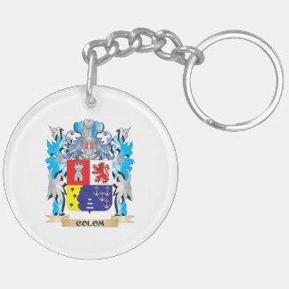 Escudo de armas de Colom - escudo de la familia Llavero Redondo Acrílico A Doble Cara
