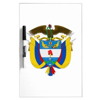 Escudo de armas de Colombia Tablero Blanco
