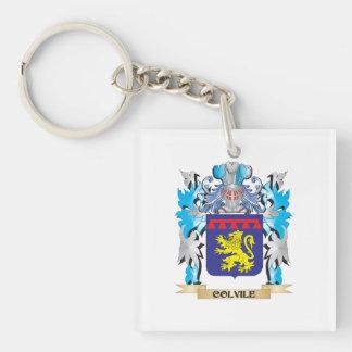 Escudo de armas de Colvile - escudo de la familia Llavero Cuadrado Acrílico A Una Cara