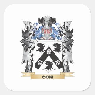 Escudo de armas de Coni - escudo de la familia Pegatina Cuadrada
