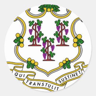 Escudo de armas de Connecticut Pegatinas Redondas