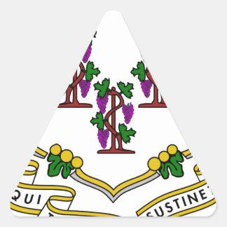 Escudo de armas de Connecticut Pegatina De Triangulo Personalizadas