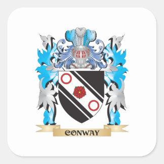 Escudo de armas de Conway - escudo de la familia Pegatina Cuadrada