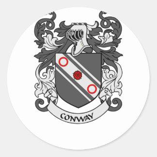 Escudo de armas de CONWAY Pegatina Redonda