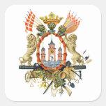 Escudo de armas de Copenhague Pegatinas Cuadradases Personalizadas