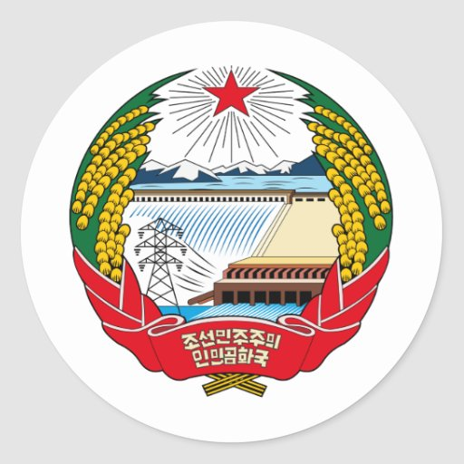 Escudo de armas de Corea del Norte Pegatina Redonda