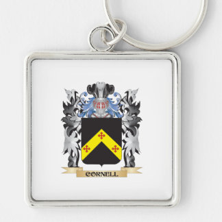 Escudo de armas de Cornell - escudo de la familia Llavero Cuadrado Plateado