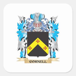 Escudo de armas de Cornell - escudo de la familia Pegatina Cuadrada