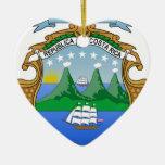 Escudo de armas de Costa Rica Adorno Navideño De Cerámica En Forma De Corazón
