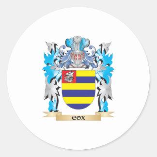 Escudo de armas de $cox - escudo de la familia pegatinas redondas