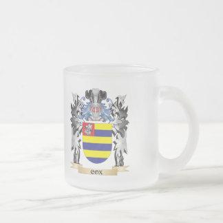 Escudo de armas de $cox - escudo de la familia taza cristal mate