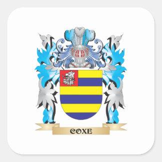 Escudo de armas de Coxe - escudo de la familia Pegatina Cuadrada