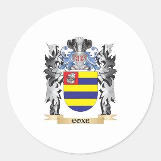 Escudo de armas de Coxe - escudo de la familia Pegatina Redonda