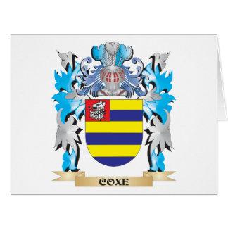 Escudo de armas de Coxe - escudo de la familia Tarjeta De Felicitación Grande
