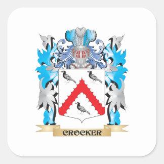 Escudo de armas de Crocker - escudo de la familia Calcomania Cuadradas Personalizadas