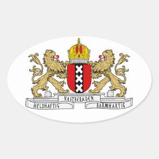 Escudo de armas de CUATRO Amsterdam Calcomanía Óval