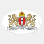 Escudo de armas de CUATRO Amsterdam Pegatina Ovalada