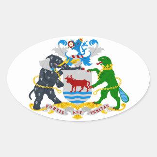 Escudo de armas de CUATRO Oxford Pegatina Ovalada
