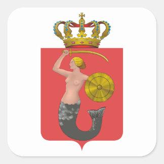 Escudo de armas de CUATRO Varsovia Pegatinas Cuadradases