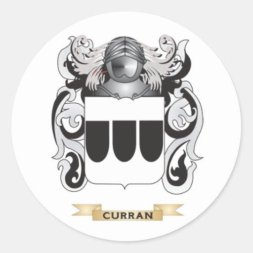 Escudo de armas de Curran Pegatinas Redondas