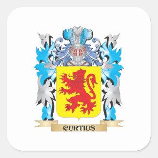 Escudo de armas de Curtius - escudo de la familia Pegatina Cuadrada