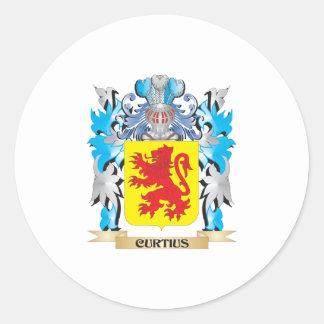 Escudo de armas de Curtius - escudo de la familia Pegatina Redonda