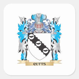 Escudo de armas de Cutts - escudo de la familia Pegatina Cuadrada