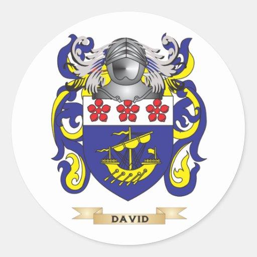 Escudo de armas de David Pegatina Redonda