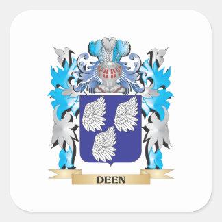 Escudo de armas de Deen - escudo de la familia Pegatinas Cuadradas